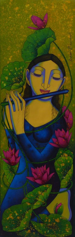 Untitled by Prakash Deshmukh, Decorative Painting, Acrylic on Canvas, Green color
