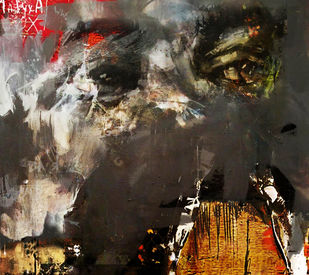 Beautiful Mess by Gopal Mehan, Abstract Painting, Mixed Media on Canvas, Brown color