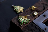 Born for 'Bold & Enamel'#FestiveGreen# by Tanvi Garg, Art Jewellery, Traditional Earring