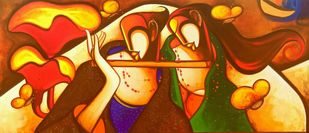 Moods by Om Swami, Expressionism Painting, Acrylic on Canvas, Brown color
