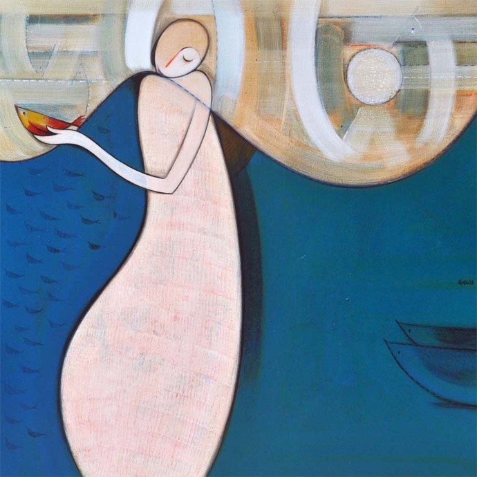Journey by Dattatraya Thombare, Expressionism Painting, Acrylic on Canvas, Blue color