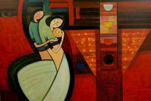Journey With A Triangle by Dattatraya Thombare, Expressionism Painting, Acrylic on Canvas, Brown color