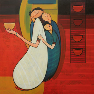 Mother With Children by Dattatraya Thombare, Expressionism Painting, Acrylic on Canvas, Brown color