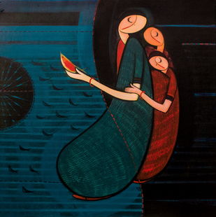 Mother With Children by Dattatraya Thombare, Expressionism Painting, Acrylic on Canvas, Blue color