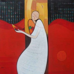 Journey by Dattatraya Thombare, Expressionism Painting, Acrylic on Canvas, Red color