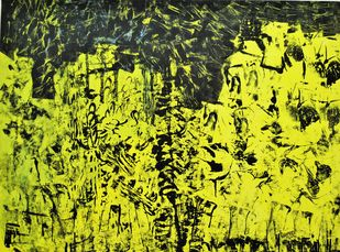 """Untitled by V.V. Ramana """"Kiran"""" , Impressionism Painting, Acrylic on Canvas, Green color"""