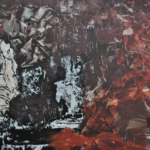 """Untitled by V.V. Ramana """"Kiran"""" , Impressionism Painting, Acrylic on Canvas, Gray color"""