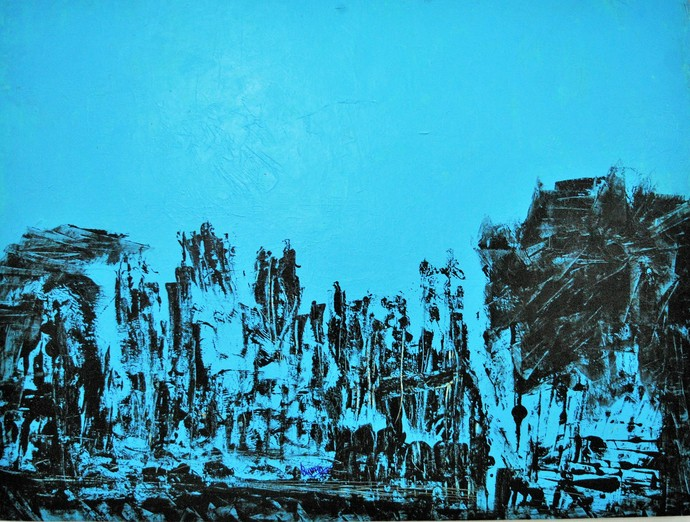 """Untitled by V.V. Ramana """"Kiran"""" , Impressionism Painting, Acrylic on Canvas, Cyan color"""