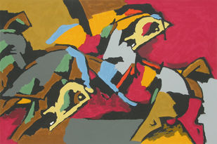 Horses by M F Husain, Expressionism Serigraph, Serigraph on Paper, Brown color