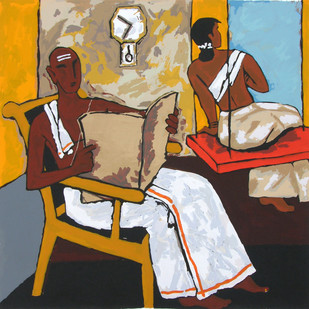 Kerala V by M F Husain, Impressionism Serigraph, Serigraph on Paper, Brown color