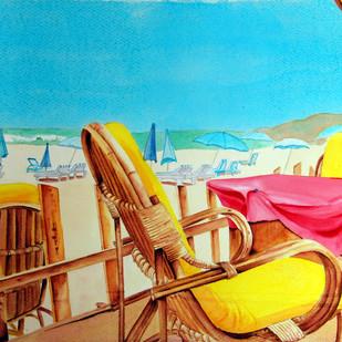 Dia Ensolarado by Swati Joshi Phatak, Impressionism Painting, Watercolor on Paper, Cyan color