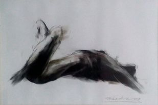 Drawing by Dibyendu Bhadra, Impressionism Drawing, Dry Pastel on Paper, Gray color