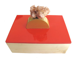 Scarlet ring box with pink-beige mineral Decorative Box By Tessera