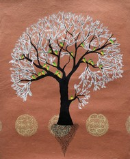 Kasaf Vriksh by Sumit Mehndiratta, Decorative Painting, Acrylic on Paper, Brown color