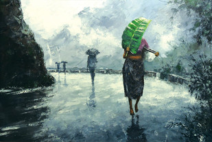 Song Of Rain by Sunil Linus De, Impressionism Painting, Acrylic on Canvas, Green color