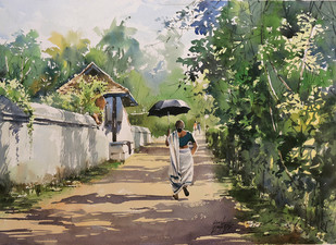 My Village by Sunil Linus De, Impressionism Painting, Watercolor on Paper, Green color