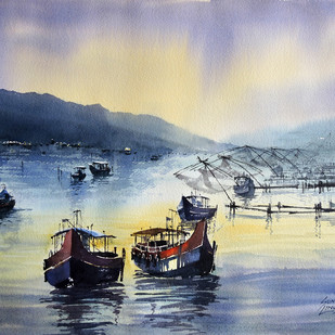 Calm by Sunil Linus De, Impressionism Painting, Watercolor on Paper, Beige color