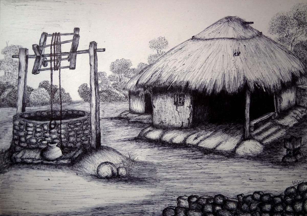 Village by vishwanath bhat illustration drawing pen on paper gray color