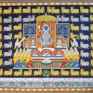 Pichwai Painting by Unknown Artist, Folk Painting, Watercolor on Paper, Brown color
