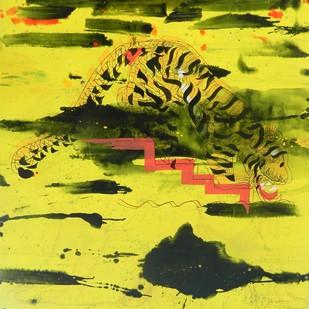 Mannlicher Tiger hinabgestiegen und schlabbert gierig mit langer Zunge aus dem Teich. by Bibhu Patnaik, Fantasy Painting, Acrylic on Canvas, Green color