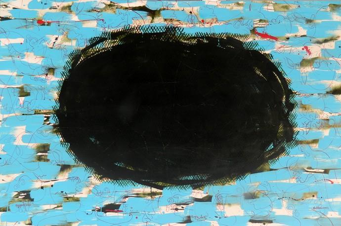 Parikrama by Bibhu Patnaik, Abstract Painting, Acrylic on Canvas, Cyan color