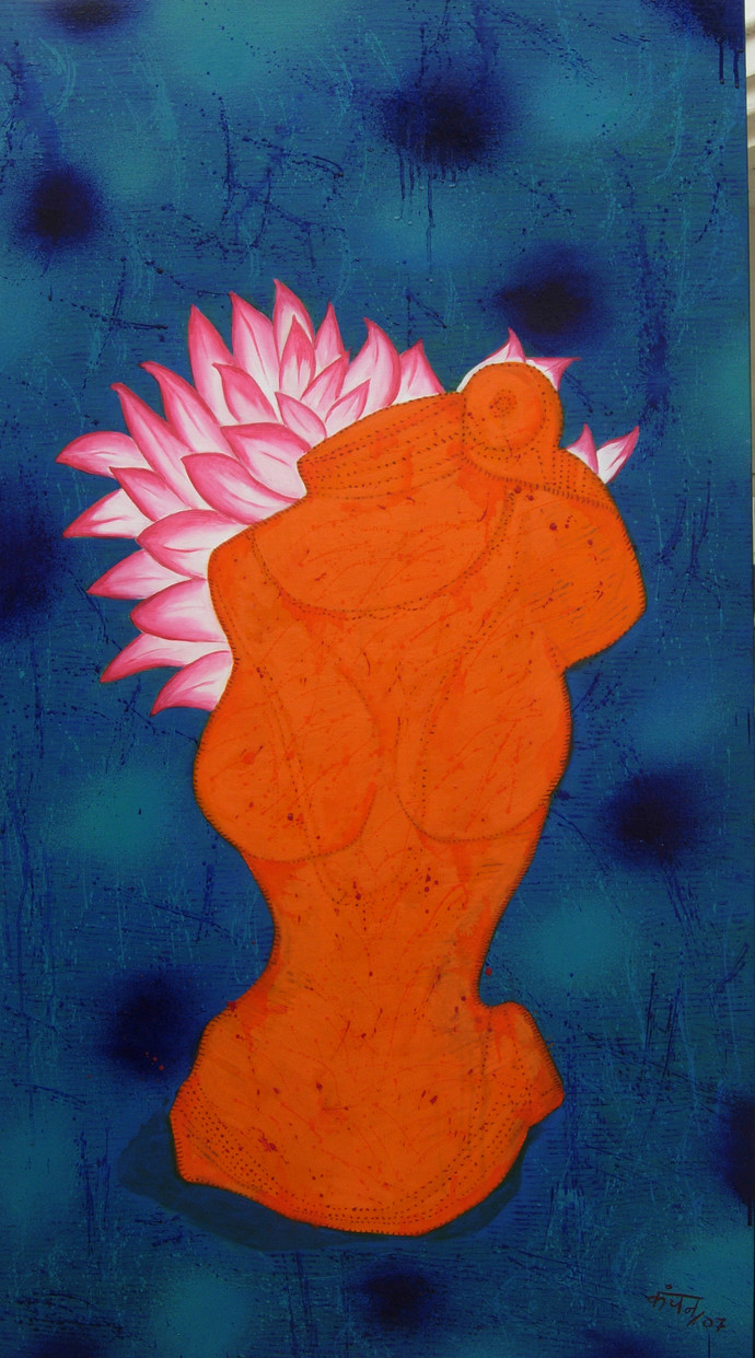 Torso Allegro 1 by Kanchan Chander, Expressionism Painting, Oil on Canvas, Blue color
