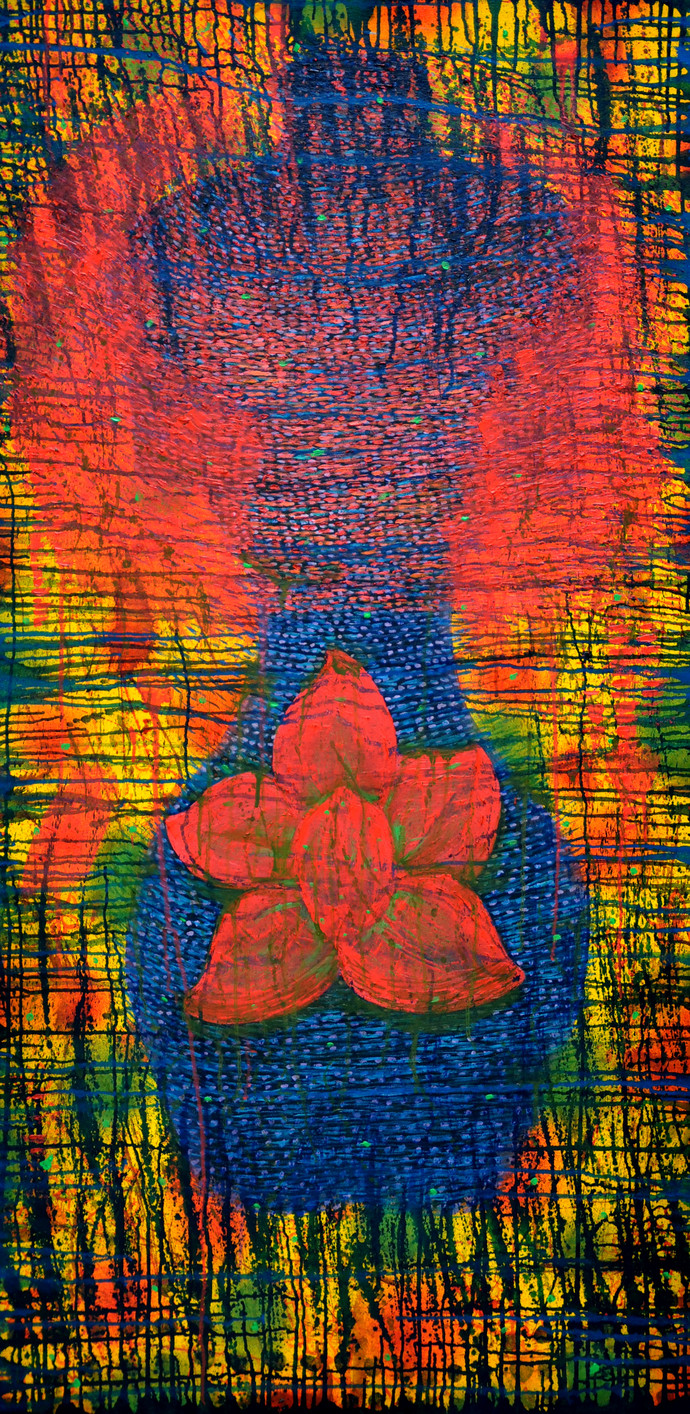 Torso with Pink Flower by Kanchan Chander, Expressionism Painting, Oil on Canvas, Brown color