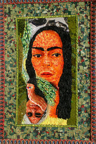 Frida and Me XXXI by Kanchan Chander, Expressionism Painting, Mixed Media on Paper, Brown color