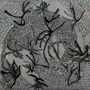 Leaves At Sanskriti 11 by Aditi Aggarwal, Impressionism Painting, Mixed Media, Gray color