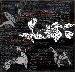 Leaves At Sanskriti 4 by Aditi Aggarwal, Impressionism Painting, Mixed Media, Gray color