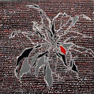 Leaves At Sanskriti 24 by Aditi Aggarwal, Impressionism Painting, Mixed Media, Brown color