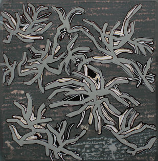 Leaves At Sanskriti 7 by Aditi Aggarwal, Impressionism Painting, Mixed Media, Gray color