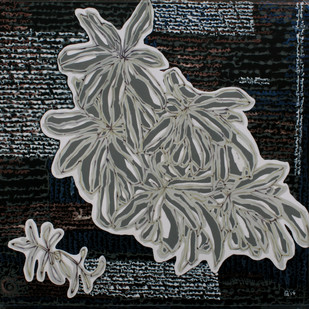 Leaves At Sanskriti 25 by Aditi Aggarwal, Impressionism Painting, Mixed Media, Gray color