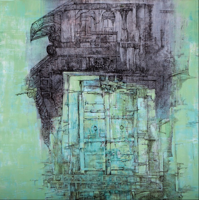 Juno Jarukho by Arpita Bhavsar, Illustration Painting, Acrylic & Ink on Canvas, Cyan color