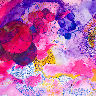 Ufaan by Shubhra Chaturvedi, Impressionism Painting, Watercolor & Ink on Paper, Purple color
