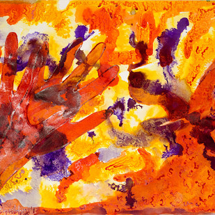 Tees by Shubhra Chaturvedi, Impressionism Painting, Watercolor & Ink on Paper, Orange color