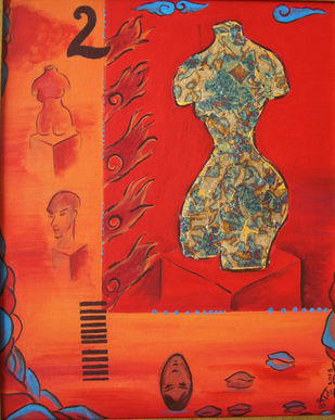 Torso and 2 by Kanchan Chander, Expressionism Painting, Acrylic on Canvas, Red color