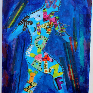 Let Live by Kanchan Chander, Expressionism Painting, Acrylic & Ink on Paper, Blue color