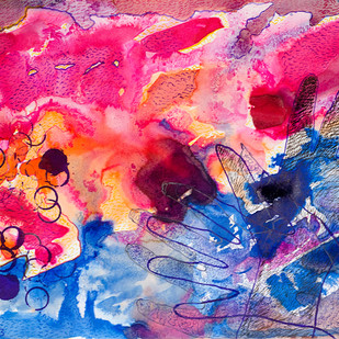 Koshish by Shubhra Chaturvedi, Impressionism Painting, Watercolor & Ink on Paper, Pink color