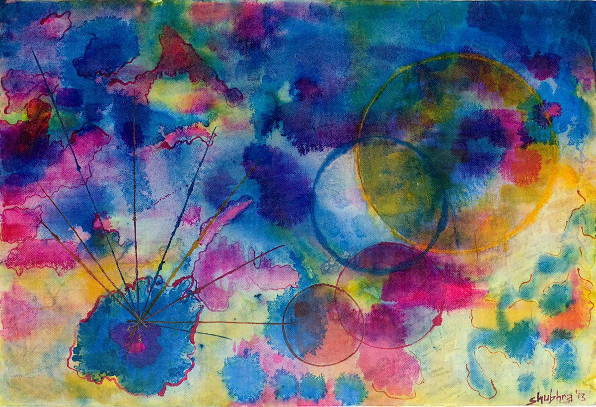 Khwaab by Shubhra Chaturvedi, Impressionism Painting, Watercolor & Ink on Paper, Blue color