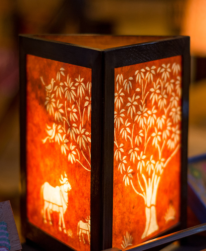 Sanjhi Lamp   Tree Of Life In Orange Table Lamp By Crafel