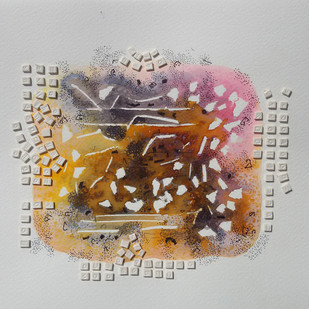 Sound Of Silence by Jaiprakash Chouhan, Abstract Painting, Mixed Media on Paper, Gray color