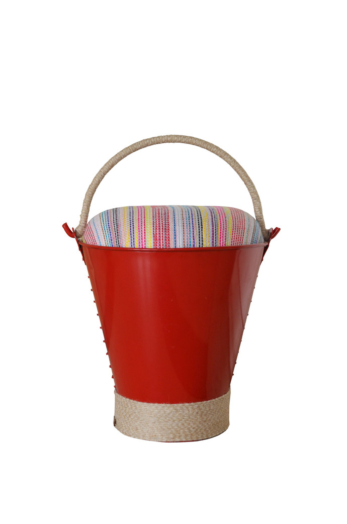 Bucket Stool (Red) Furniture By Desi Jugaad