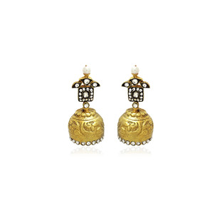 Old Style Hand Carved Jhumki Earrings Earring By Symetree