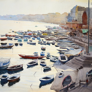 Varanasi Vista by Ramesh Jhawar, Impressionism Painting, Watercolor on Paper, Gray color