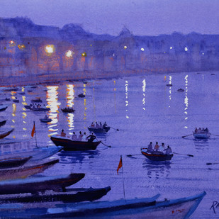 Moods of Varanasi by Ramesh Jhawar, Impressionism Painting, Watercolor on Paper, Blue color
