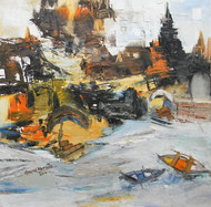 Banaras 1-2014 by Anand Narain, Impressionism Painting, Oil on Canvas, Gray color
