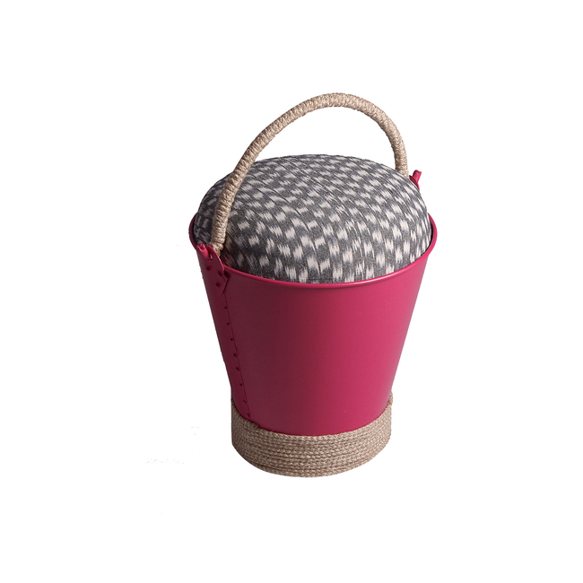 Balti Stool (Pink) Furniture By Desi Jugaad