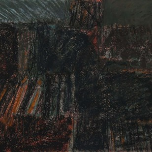 Untitled 38 by Rakesh Kumar, Abstract Drawing, Dry Pastel on Paper, Gray color