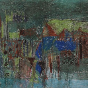 Untitled 39 by Rakesh Kumar, Abstract Drawing, Dry Pastel on Paper, Green color